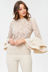 Beige Lace Top with Double Bell Sleeves-GoGetGlam
