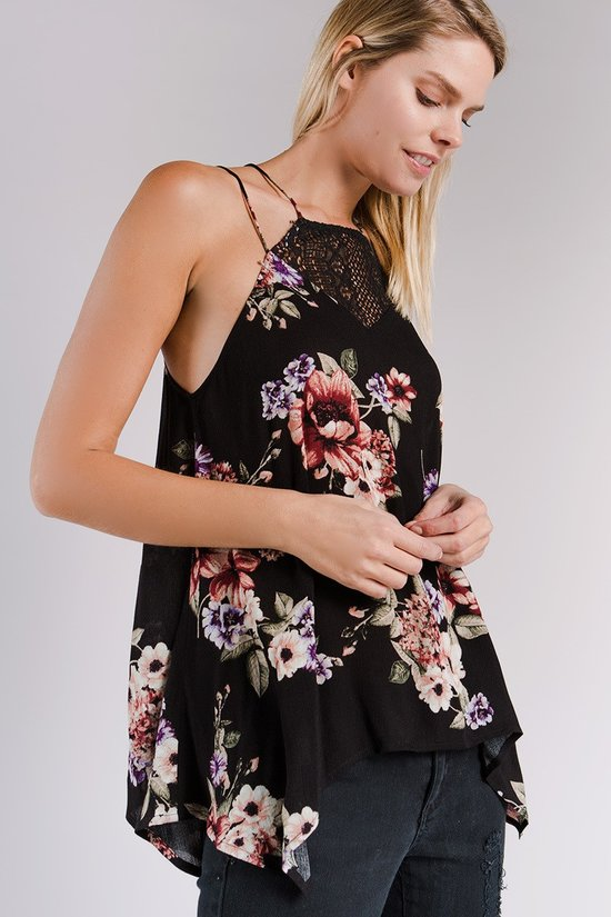 Amie Ruffle Floral Halter Top - GoGetGlam Boho Style