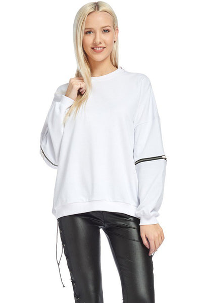 Sweatshirt with Detachable Sleeves-GoGetGlam