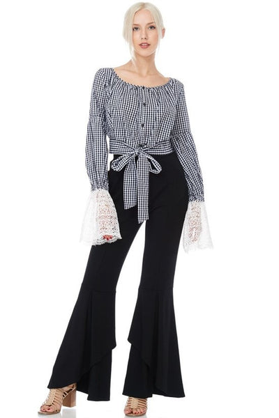 Checkered Lace Bell Sleeve Peasant Top-GoGetGlam