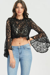 Black Bell Sleeve Lace Crop Top-GoGetGlam