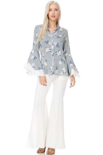 Daisy Double Layer Bell Sleeve Floral Shirt-GoGetGlam