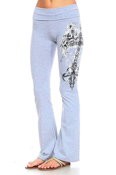 Embellished Cross Wings Grey Yoga Pants-GoGetGlam
