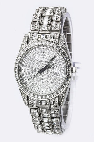 Platinum Silver Cubic Zirconia Pave Ladies Watch - Boho Bohemian Decor