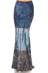 Denim Blue Lace Mermaid Style Maxi Skirt-GoGetGlam