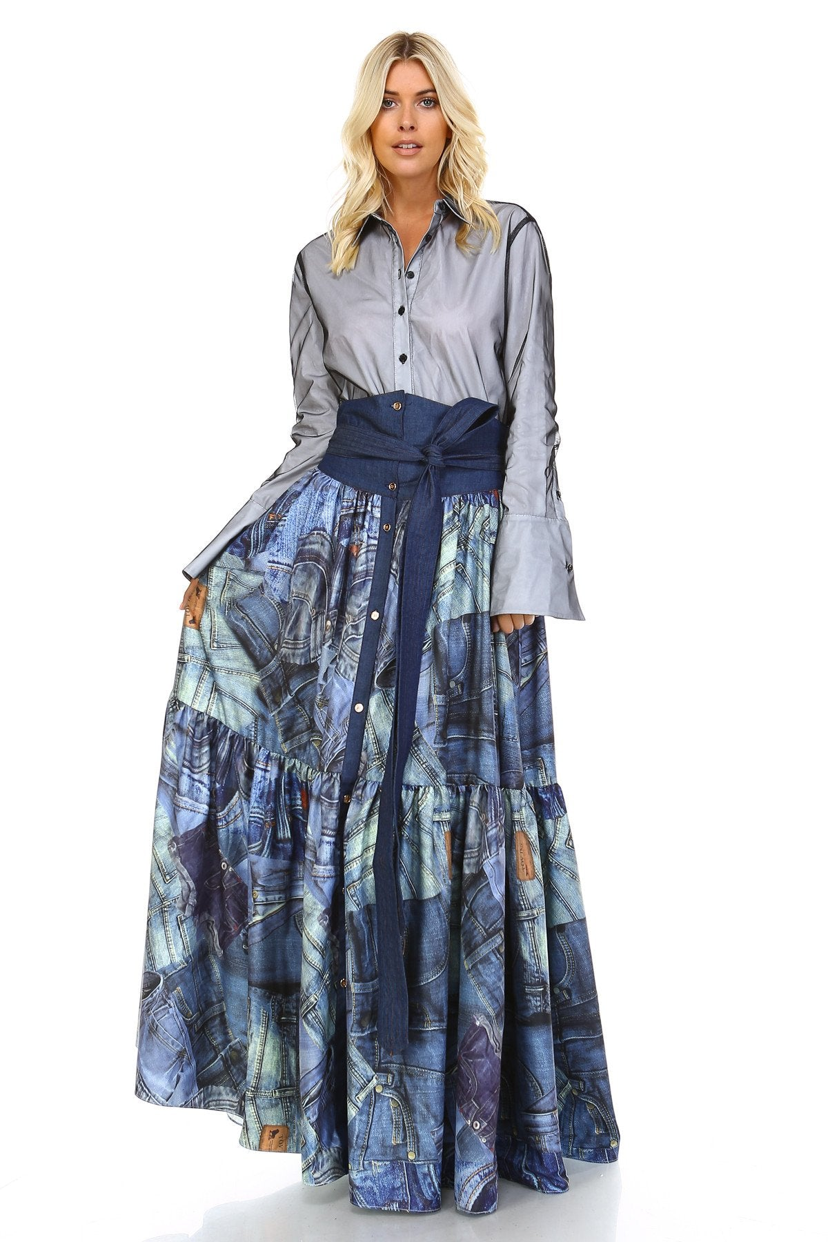 Denim Jeans Collage Print Maxi Skirt - GoGetGlam Boho Style