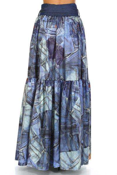 Denim Jeans Collage Print Maxi Skirt-GoGetGlam