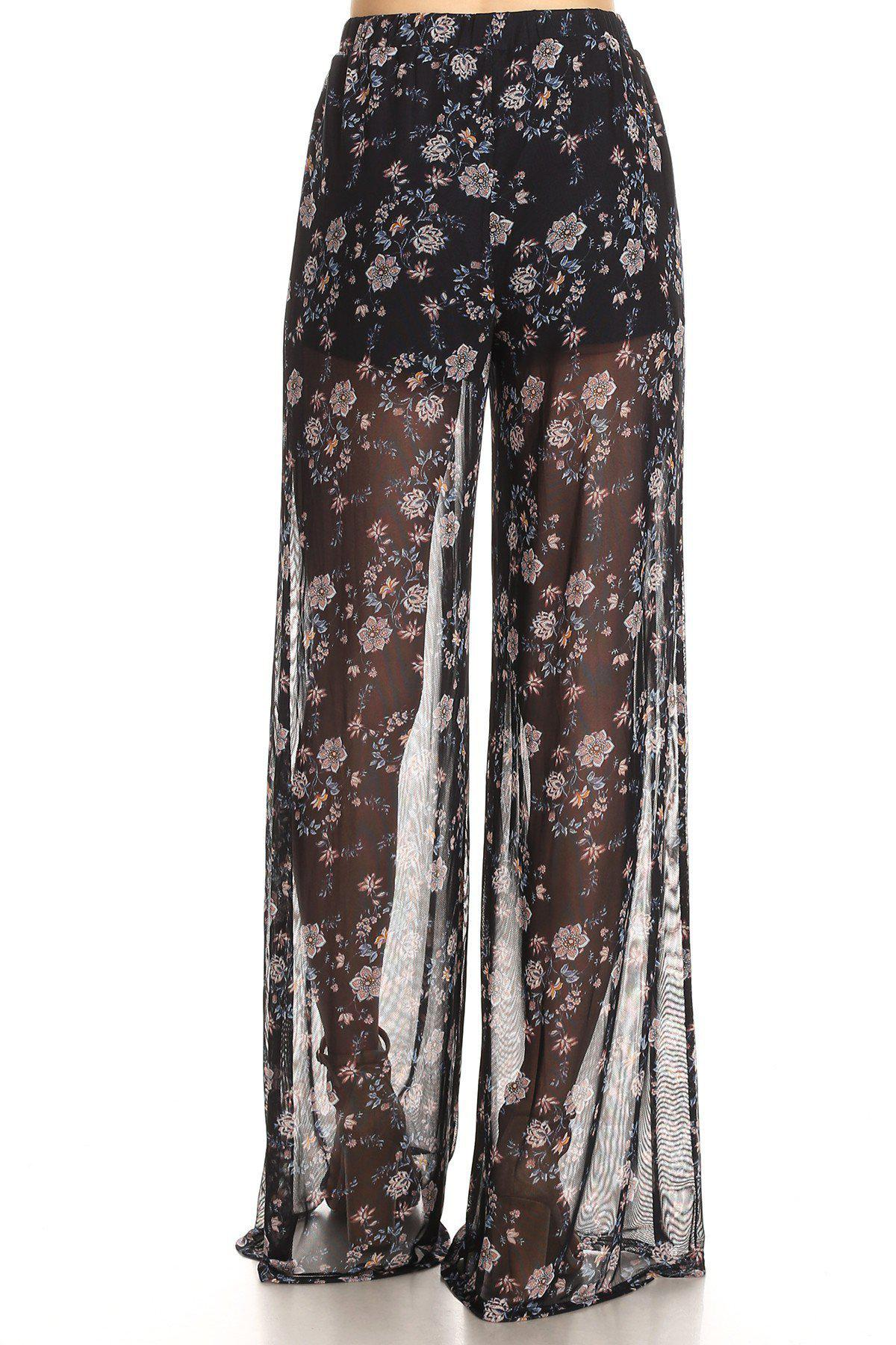 Black Floral Sheer Pants-GoGetGlam