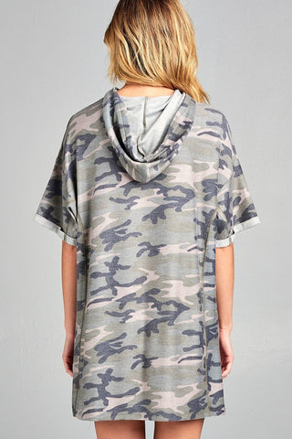 Camo Terry Cloth Drawstring Hoodie Dress