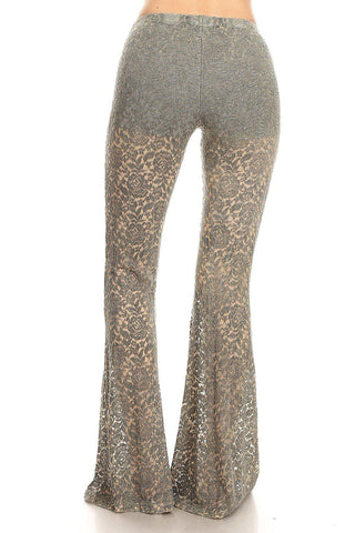 Mineral Wash Flare Hem All Lace Leggings-GoGetGlam