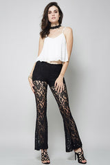 Fitted Sexy Black Lace Flare Bell Bottom Pants-GoGetGlam