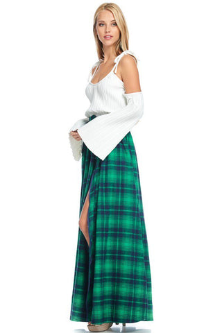 Zipper Hem Flannel Plaid Maxi Skirt-GoGetGlam