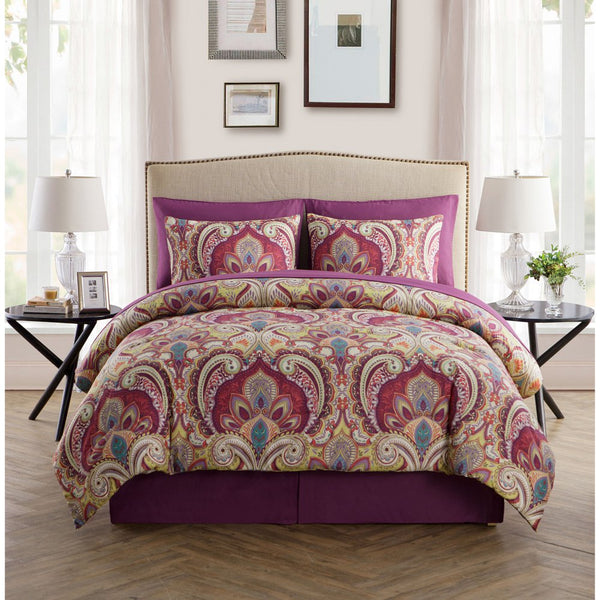 Alexa 8 Piece Maroon Bed in a Bag Set - GoGetGlam Boho Style
