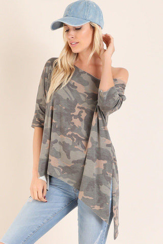 Military Camo Asymmetrical Tunic Top-GoGetGlam