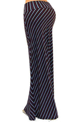Gina Navy Red Striped Long Maxi Skirt-GoGetGlam