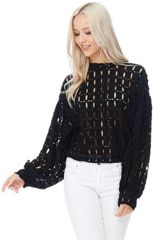 Pia Perforated Drawstring Hem Top-GoGetGlam