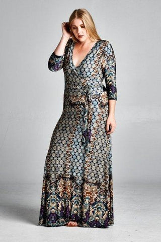Plus Size Boho Faux Wrap Maxi Dress - Boho Bohemian Decor