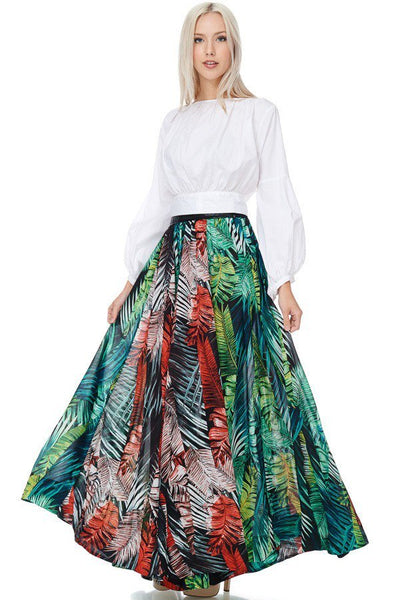 To The Tropics Leather Waist Floor Length Maxi Skirt-GoGetGlam