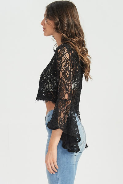 Black Bell Sleeve Lace Crop Top - GoGetGlam Boho Style