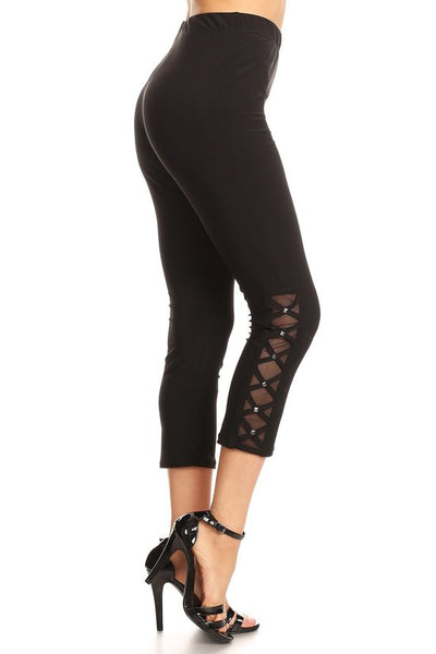 Mesh & Stud Capri Leggings - Boho Bohemian Decor