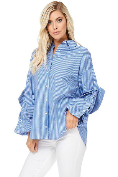 Extended French Cuff Striped Boyfriend Shirt-GoGetGlam