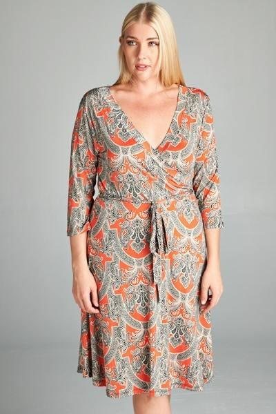 Plus Size Boho Faux Wrap Dress - Boho Bohemian Decor