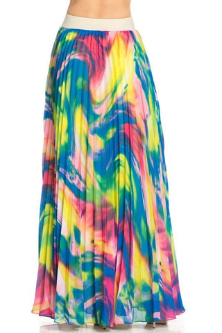 Rainbow Sherbet Pleated Maxi Skirt-GoGetGlam