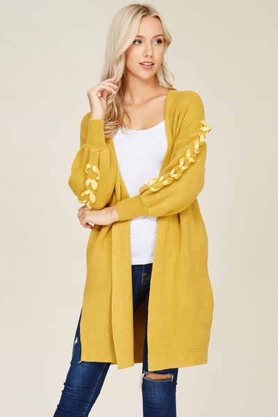 Lacelyn Lace-Up Sleeve Mustard Yellow Open Cardigan-GoGetGlam