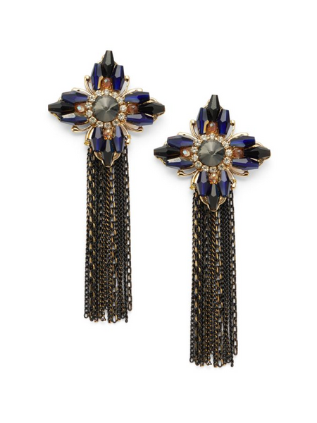 Natasha Goldtone Glass Crystal Tassel Drop Earrings-GoGetGlam