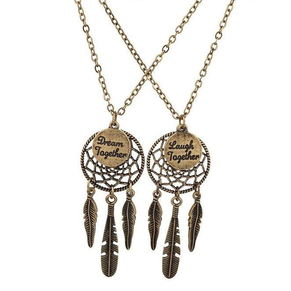 Dreamcatcher BFF Best Friends 2 PC Chain Charm Necklace SET-GoGetGlam