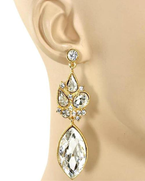 Drew Gold Crystal Teardrop Statement Earrings-GoGetGlam