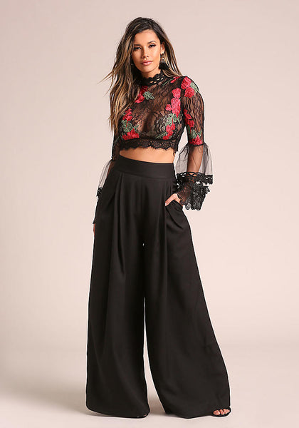 Black Rose Lace Bell Sleeve Crop Top - GoGetGlam Boho Style
