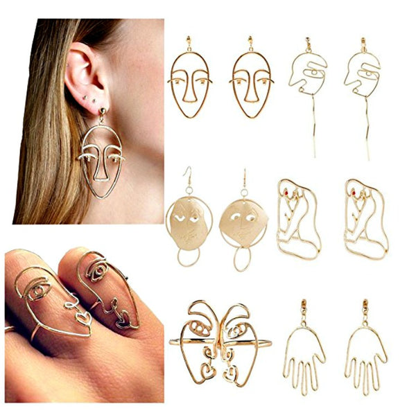 Abstract Picasso Face & Body Art Earrings & Rings Set - GoGetGlam Boho Style