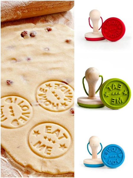 EAT ME LOVE YOU & HOMEMADE Cookie Press Stamp Set - Boho Bohemian Decor