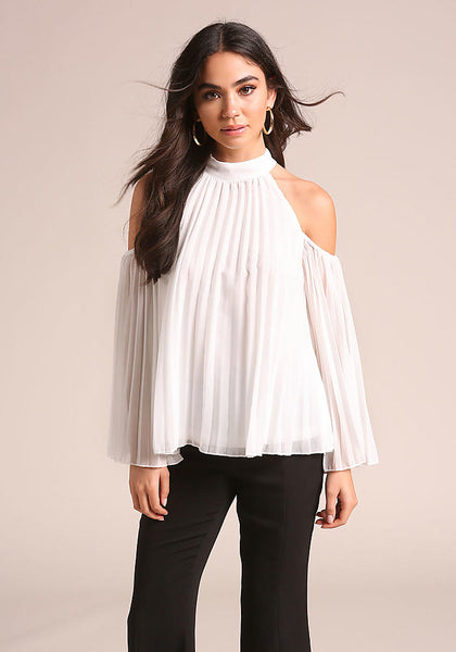 Pleated Cold Shoulder White Blouse - Boho Bohemian Decor