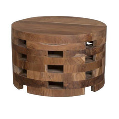 Eco Friendly Teak Wood Boho Drum Coffee Table   GoGetGlam Boho Style