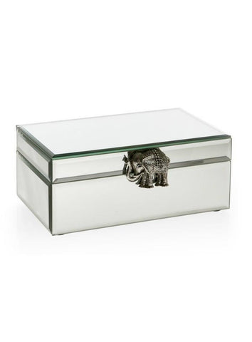 Elephant Brooch Detail Mirrored Jewelry Box-GoGetGlam