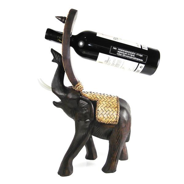 Elephant Carved Rain Tree Wooden Wine Bottle Holder-GoGetGlam