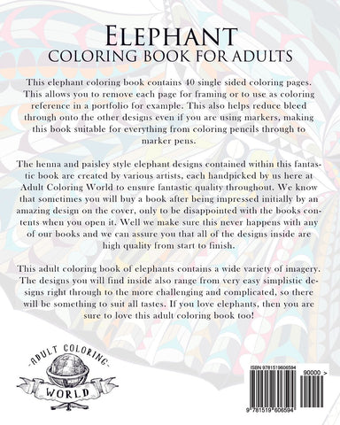 Elephant Henna Paisley Art Adult Coloring Book-GoGetGlam