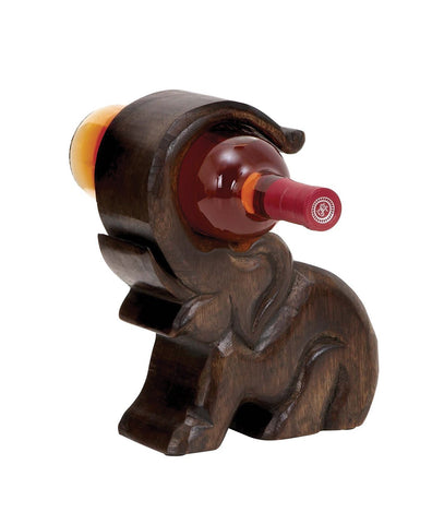 Elephant Shaped Wooden Wine Bottle Holder Stand-GoGetGlam