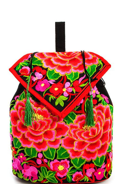 Embroidered Bohemian Rose Backpack - GoGetGlam Boho Style