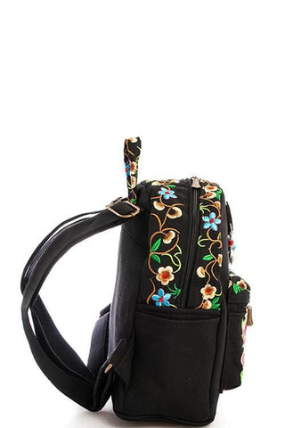 Embroidered Boho Rose Floral Backpack - GoGetGlam Boho Style