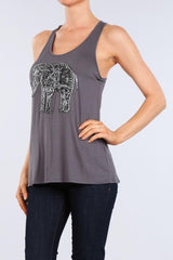 EMBROIDERED TRIBAL ELEPHANT Racerback Tank Top - GoGetGlam Boho Style