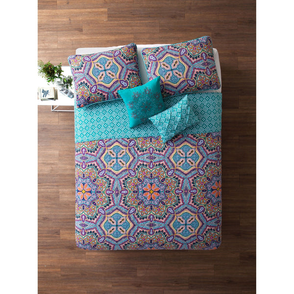 Eva Boho 5PC Reversible Quilt Set-GoGetGlam
