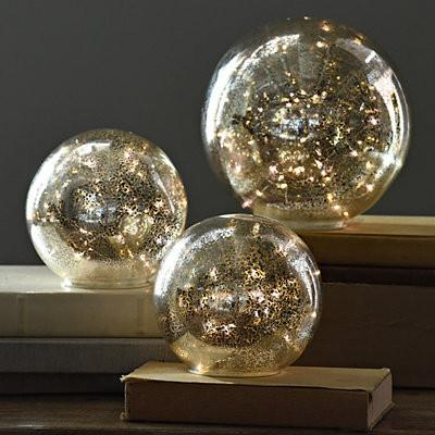 Exclusive Set of 3 Pre-Lit Mercury Glass Globes-GoGetGlam