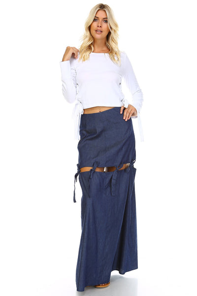 Extended Tie Mini To Maxi Skirt-GoGetGlam