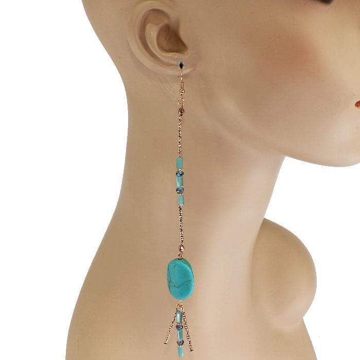Extra Long Natural Turquoise Stone Boho Earrings-GoGetGlam