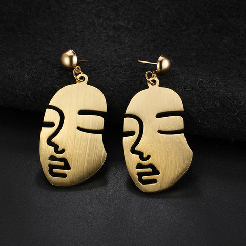 The Twins Face Art Earrings - GoGetGlam Boho Style