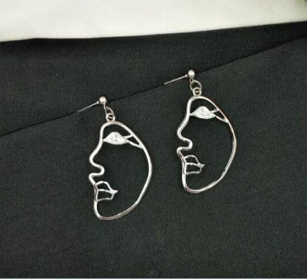 Silver Abstract Side Profile Face Earrings - GoGetGlam Boho Style