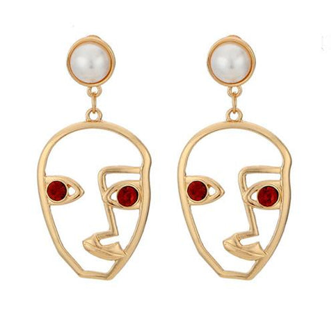 Faux Ruby Cultured Pearl Abstract Face Earrings-GoGetGlam